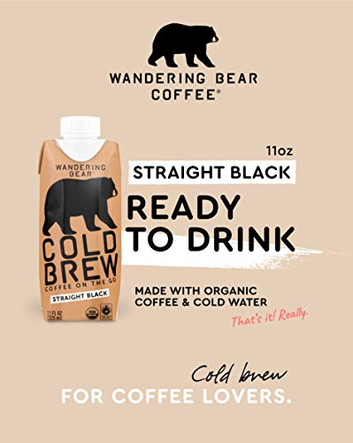 Wandering Bear Organic Cold Brew Coffee On-the-Go 11 oz Carton, Straight Black, No Sugar, Ready to Drink, Not a Concentrate (Pack of 12) by Wandering Bear (Image #1)