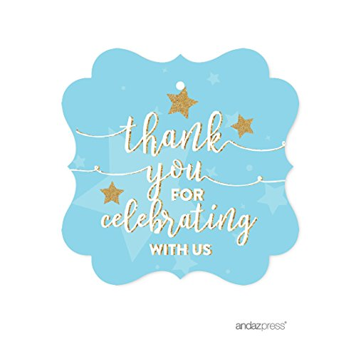 Andaz Press Twinkle Twinkle Little Star Baby Blue Baby Shower Collection, Fancy Frame Gift Tags, Thank You for Celebrating with US, 24-Pack
