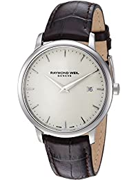 Men's 'Toccata' Quartz Stainless Steel and Leather Casual Watch, Color:Brown (Model: 5488-STC-40001)