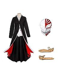 Japanese Anime Costumes Cosplay Bleach Ichigo Bankai Costume Set/4 Piece Set with mask and Tabi Socks Sandals,Wig