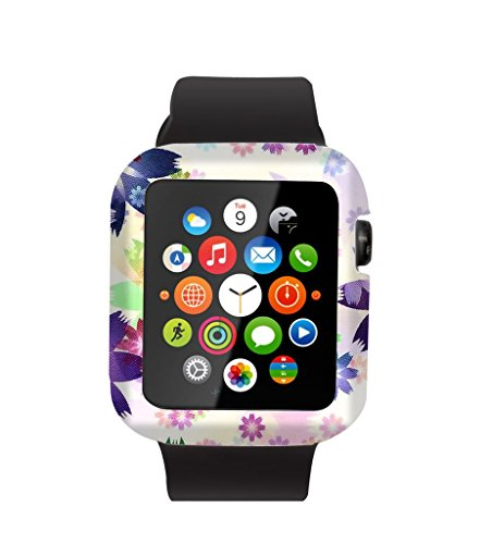Case Replacement for Iwatch 42mm & Cisland Flexible Protective Protector Cover Compatible for Apple Watch 42mm Series 1/2/3 Sport & Edition Dreamlike Colorful Purple Flowers Pattern Artwork
