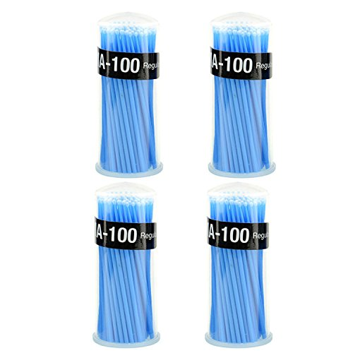Zgood 400Pcs/4 Boxes Blue Applicator Micro Brush Regular Blue MA-100