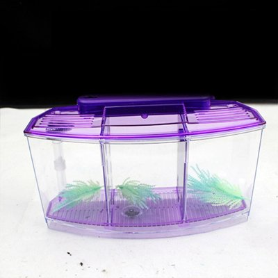 LED Light Aquarium Acrylic Three Splits Betta Fish Tank Triple Bow Fighting Isolation Hatch Breed Box bluee Purple AT007   Purple, 28x10x15cm