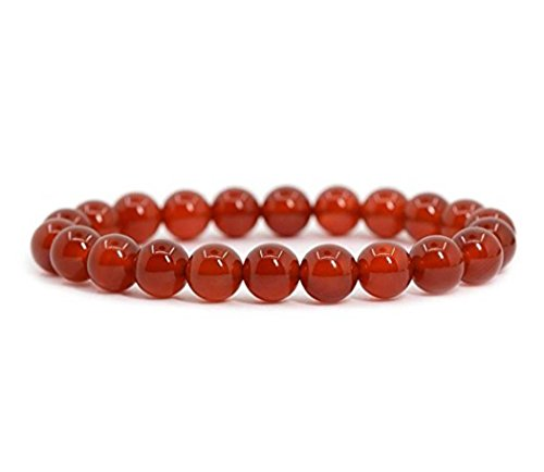 (Natural Carnelian Gemstone Bracelet 7 inch Stretchy Chakra Gems Stones Healing Crystal Great Gifts GB8-29)