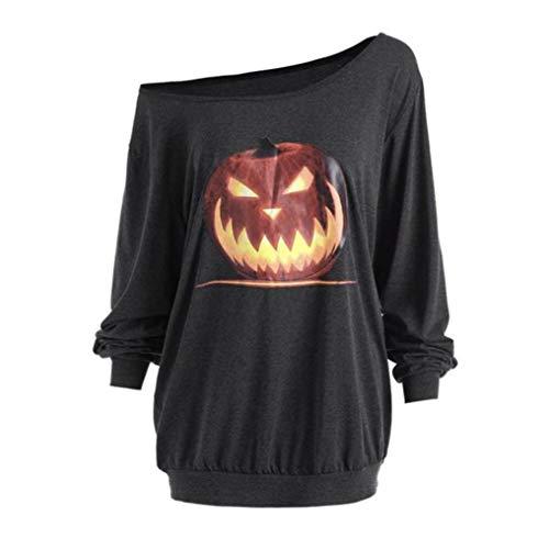 ◕‿◕ Toponly Women Plus Size Long Sleeve Tops Halloween Angry Pumpkin Skew Neck Tee -