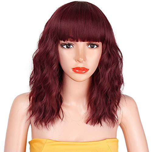 AISI HAIR Synthetic Curly Bob Wig with Bangs Short Bob Wavy Hair Wig Wine Red Color Shoulder Length Wigs for Women Bob Style Synthetic Heat Resistant Bob Wigs (Best Hair Color For Shoulder Length Hair)