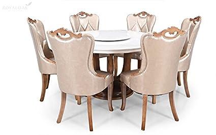 Royaloak Reyan Six Seater Round Marble Dining Table Set Brown