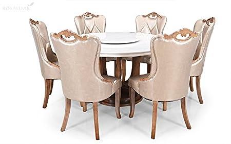Royaloak Kalpa Six Seater Round Marble Dining Table Set Brown Amazon In Home Kitchen