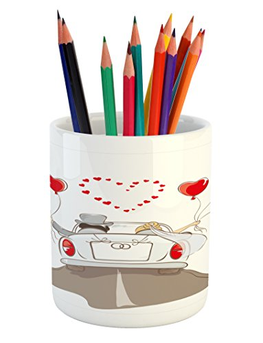 Wedding Pencil Pen Holder by Ambesonne, Newlywed Couple in V