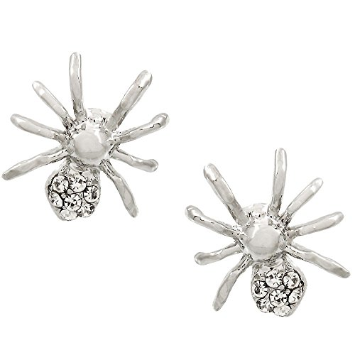 [Cute Little Silver Tone Crystal Crawling Spider Stud Earrings Halloween Fashion Jewelry Gift Costume] (Little Girl Skeleton Costumes)
