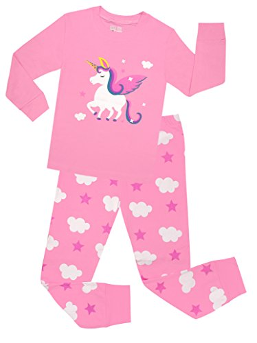 (Little Girls Horse Pajamas Set Children Christmas PJs 100% Cotton Sleepwear Size 7)