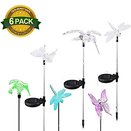 6 Pack Garden Butterfly Solar Powered String Lights Multi Color Changing  Outdoor Solar Garden Stake Light