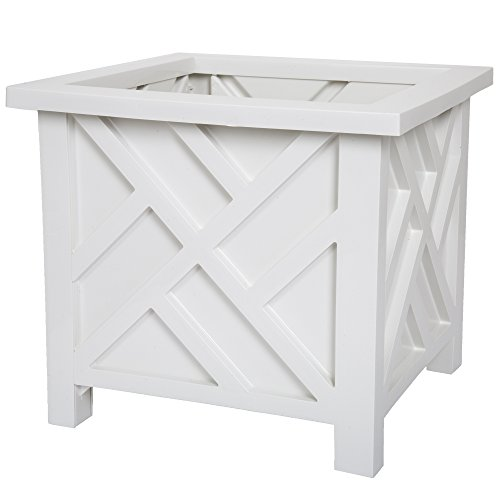 Plant Holder - Planter Container Box for Garden, Patio, and Lawn - Outdoor Decor by Pure Garden - White