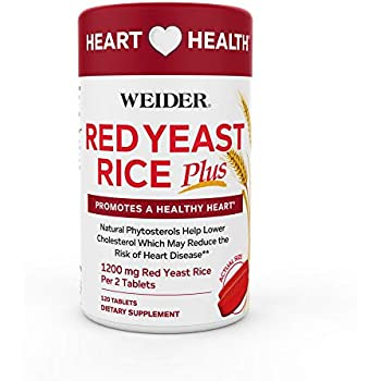 Weider Red Yeast Rice Plus 1200mg ♡ - With 850mg of Natural Phytosterols- Promotes A Healthy Heart ♡ - Gluten FREE - One Month Supply