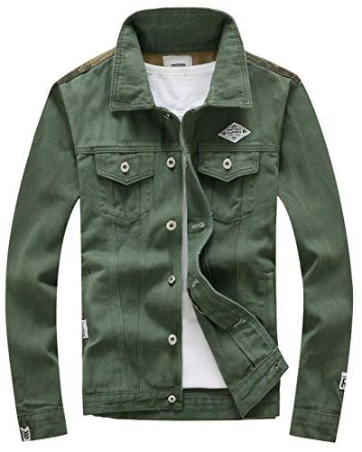XueYin Men's Denim Jacket Slim Fit Plus Size