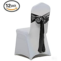 Yichuang 12PCS Satin Chair Bow Sash for Wedding Banquet Party Decorations 10 Colors by (Black)