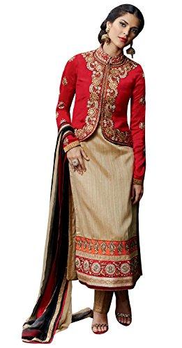Beige Embroidered Salwar Kameez Semi Stitched Dress Indian Ethnic Wear Suit