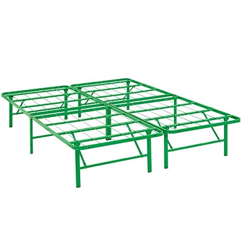[Modway Horizon Full Bed Frame In Green - Replaces Box Spring - Folding Portable Metal Mattress Bed Frame With Storage - Low Profile - Heavy Duty] (Lexington Collection Platform Bed)