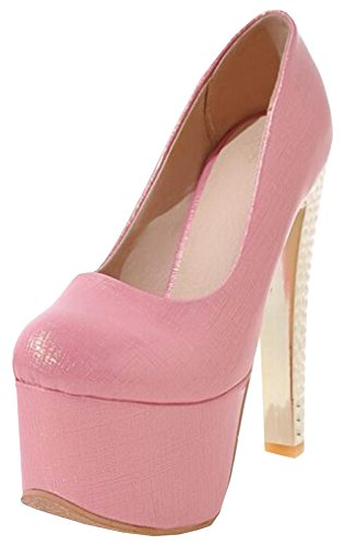 Scarpe Basse Idifu Dressy Extreme High Block Tacchi Metallici Slip On Slip On Platform Shoes Pink