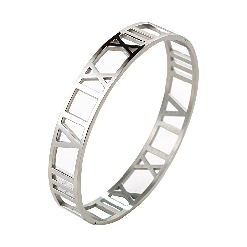 JOVO LOVE Jewelry Silver Bangle Bracelet Roman Numerals Stainless Steel Bangle Bracelet Anniversary Gift for Women - Repo Man Costume For Sale