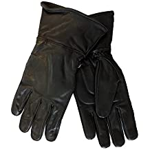 Women's Motorcycle Leather Gauntlet Gloves Black SMALL
