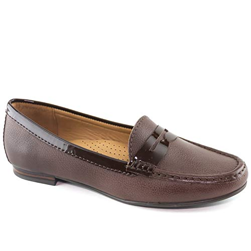 Club Brown Leather - Driver Club USA Womens Leather Made in Brazil Greenwich Loafer Driving Style, Brown Grainy, 9 B(M) US