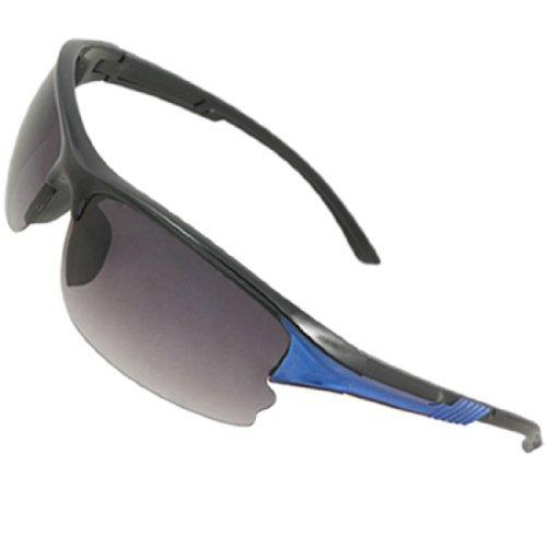 - eDealMax Unisexe texturé Bras en Plastique Demi-Cadre Sunglsses Bleu Noir