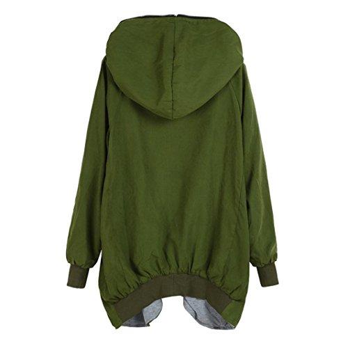 para abrigo Escudo Verde con Cazadora cremallera Sudadera parka de Internet suelta mujer Jacket Kapuzen qXUUw1dB