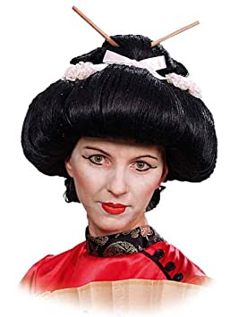 Peluca asiática negro Miss Saigon Asia geisha japonesa carnaval ...