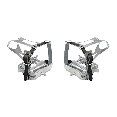 M-Wave Steel Toe Clip with Leather Straps (Silver/Black)