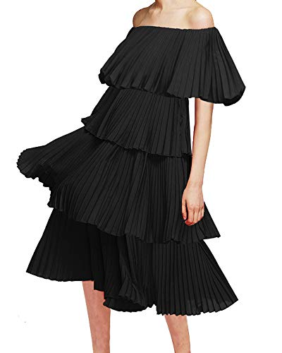 - Memoryee Women's Casual Off The Shoulder Ruffles Hem Tiered Midi Dress (Black, S)