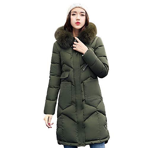 Green Women Cotton Coats Jackets Loose Casual Pocket Puffer vpass Zipper Padded Parka Warm Long Fur Hooded Winter Outerwear TWaqvd