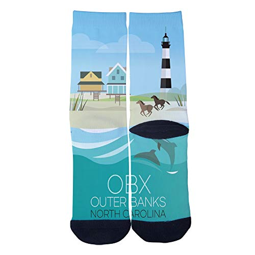 - Customized NorthCarolina Obx Outer Banks NewStyle Poster Socks Men's Women's Socks Unique Casual Crew Socks Black