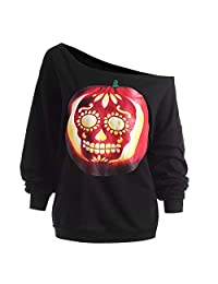 BOLUOYI Women's Halloween Pumpkin Devil Sweatshirt Pullover Tops Blouse Shirt