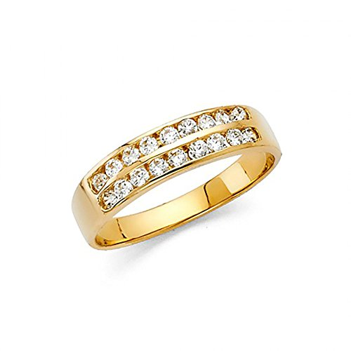 - 14k Yellow Gold Double Row Channel Set CZ Band Ring