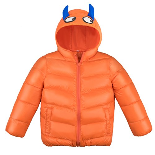 Kids Winter Jacket, children Down Coat, Warm Winter Outwear With Hood For Boys Girls, Orange