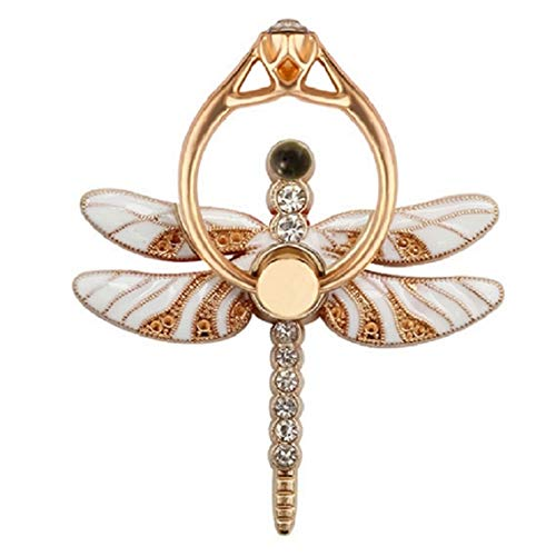 (Nurbo Cute Dragonfly Shape Phone Ring 360 Degree Rotating Ring Grip Anti Drop Finger Holder for iPhone iPad and All Cellphone (White))