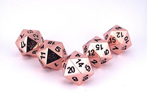 Solid Metal Bright Copper D20 5 Piece Polyhedral Dice Set - D&D RPG Pathfinder 3