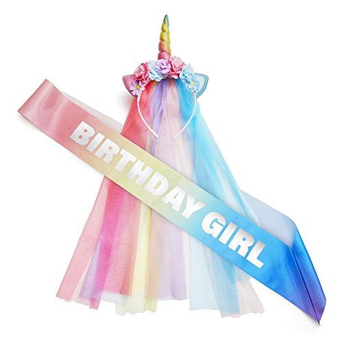 Little Girls Birthday Party (Rainbow Unicorn Party Supplies - Pastel Decorations, Headband, and Sash for Girls - Themed Costume Outfit for Bachelorette, Birthday - Colorful, Magical Hat for Adults and)