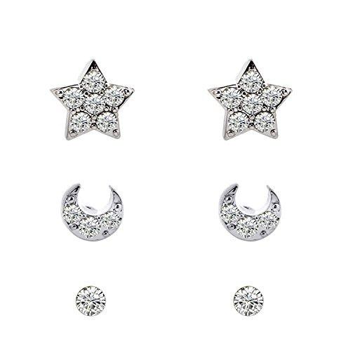 Lureme Fashion and Shiny Pave Crystal 3 Pairs Stud Earrings Set (Star Moon Crystal)(02004671-parent) (Silver Tone) - Pave Star Earrings