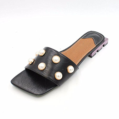 GTVERNH Las Perlas de Verano Decoradas con Zapatos en la Parte Superior de los Dedos de los pies Que faltan en el Talón Plano, Parte Inferior Plana y Zapatillas Frías, Blanco, Thirty-Eight Thirty-eight blanco