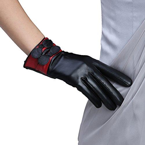 パンチ適応的著名なLissomPlume 手袋 レディース 本革 羊皮 グローブ シープスキン スマホ 対応 裏起毛 レディースファッション 冬でも暖かい