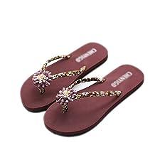 ZHOUZJ Summer Beach Women Slippers Non Slip Flip Flops Lady Outside Flat Thong Slippers
