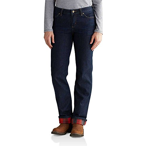 Carhartt Women's Original Fit Blaine Flannel Lined Jean, Midnight Sky, (Flannel Lined Dungaree)