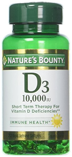 Nature's Bounty Vitamin D3 Pills and Supplement, Supports Bone Health and Immune System, 10000iu, 72 Softgels