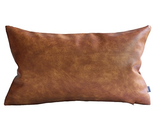 Kdays Thick Faux Leather Pillow Cover Tan Decorative For Couch Throw Pillow Case Brown Leather Cushion Cover Solid Color Leather Pillow 12x20 (Is Halloween The 31)