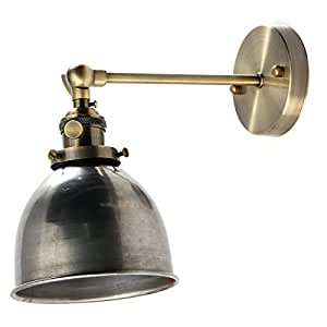 Jeteven Retro Vintage Industrial Steel Swing Arm Wall Sconce Light Lamp Shade for E27 Bulbs Silver