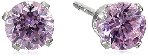 Sterling Silver Pink Cubic Zirconia Round Stud Earrings