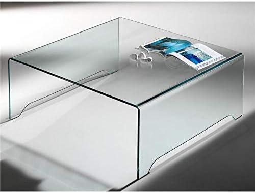 Mesa de Centro de Cristal Curvado Transparente Amarina 100 cm ...