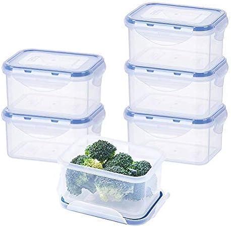 Easylock – Juego de fiambreras de plástico con tapas herméticas pequeñas caja de almacenamiento de cocina 17.1oz 2.1 taza Pack de 6: Amazon.es: Hogar